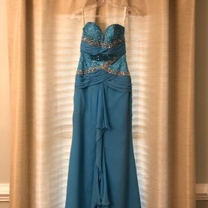 Aqua Blue Prom Dress with Beading